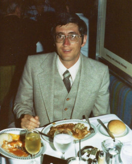 Oringinal Sun Princess dining room, April 1980 somewhere on the Caribbean Sea. I (Joe) am eating two dinners as there were too many great choices on the menu and the waiter said to have both! Lobster and pheasant on Formal Night! Great food in 1980!