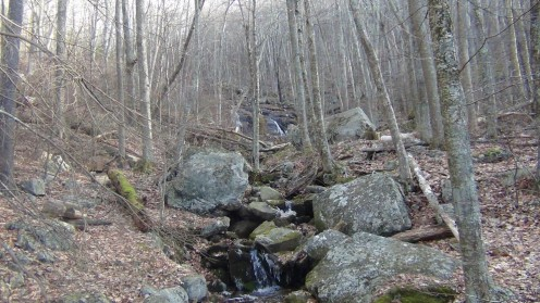 A stream trickles down the mountain at an old railroad site.