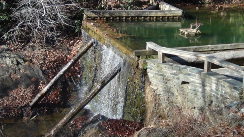 Water cascades down from Rakes Mill Pond.