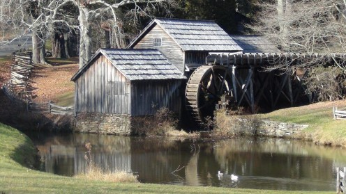 Ducks enjoy the tranquility of the off season on the pond at Mabry Mill.