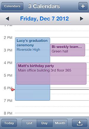 iPhone calendar events