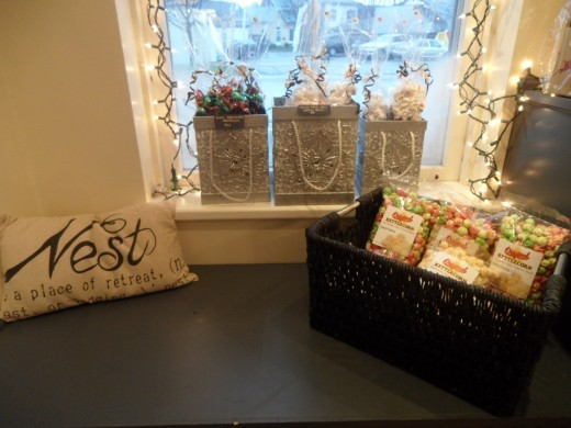 Christmas Decor and basket of Kettle Corn