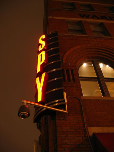 Kmf164 took this photograph of the International Spy Museum's sign on January 11, 2006.
