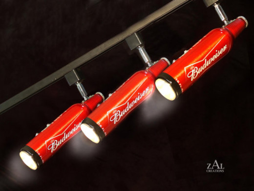 Beer bottles Track Lighting Fixture. 3 Track lights & Track.
