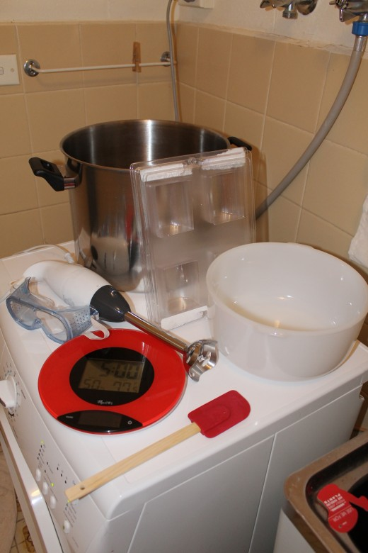 Above: Equipment needed for making coconut milk soap