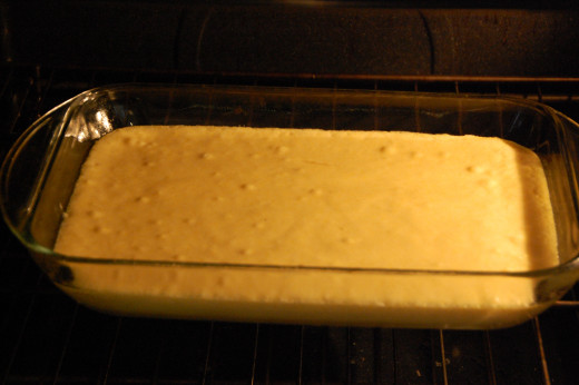 Cornbread in the oven