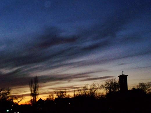 A darkening sky