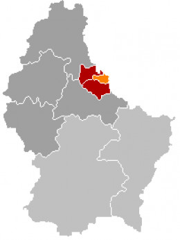 Map location of Vianden canton, Luxembourg