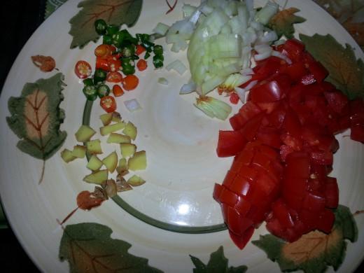 Image2: ginger, onion, tomato, green chilli