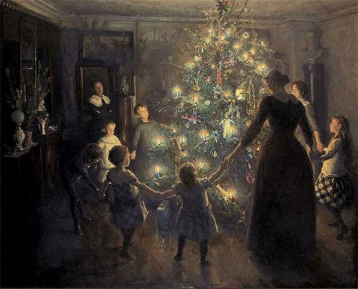 1891 painting of family with Christmas tree
