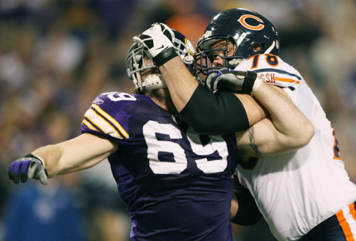 Jared Allen is introduced to Kevin Schaffer in the always intense Bears/Vikings Rivalry.