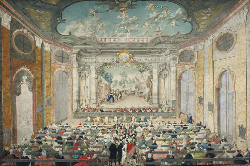An opera performance in a baroque theater, possibly Eszterhaza. Austrian School, late 18th Century.