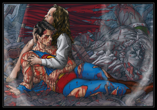 The Ersatz Death of Superman - with Uncanny likenesses to Brandon Routh and Kate Bosworth.