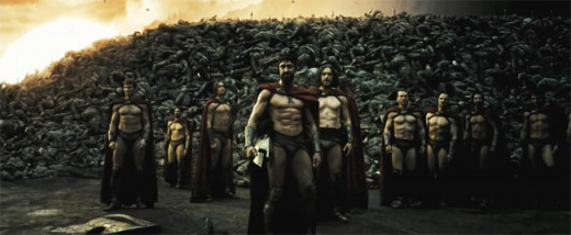 Survivng Members of the 300 with a Wall of the Enemies' Dead Bodies Forming a Barrier