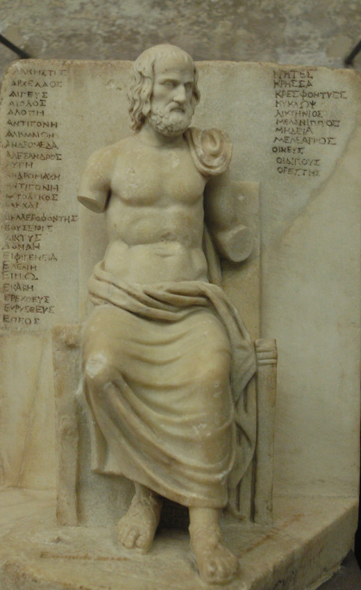 Statuette of Euripides by unknown artist restored in Louvre Museum.