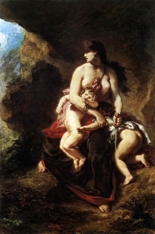 Medea about to Kill her Children by Eugène Delacroix