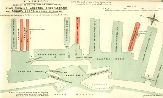 This is a map drawn at the start of the 1900s, showing part of the intricate design of the Liverpool Docks system
