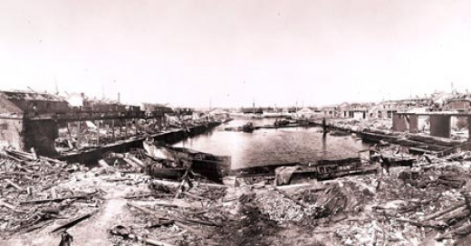 A view of the destruction caused by the explosion of the SS Malakand at Huskisson Dock