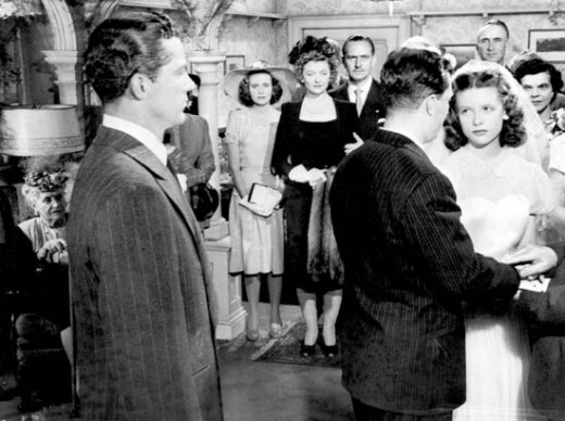 (From left) Dana Andrews, Teresa Wright, Myrna Loy, Fredric March, Harold Russell, and Cathy O'Donnell