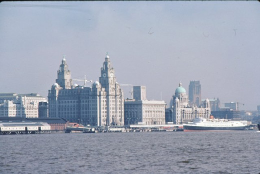 The present day Liverpool waterfront profile, a mixture of the traditional buildings and the new modern structures