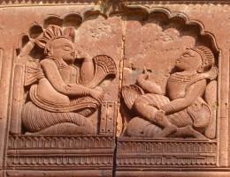 A scene from the Mashabharata --- Yudhisthira playing dice with Shakuni