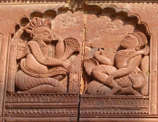 A scene from the Mashabharata --- Yudhisthira playing dice with Shakuni