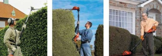 Some pole hedge trimmers in action.