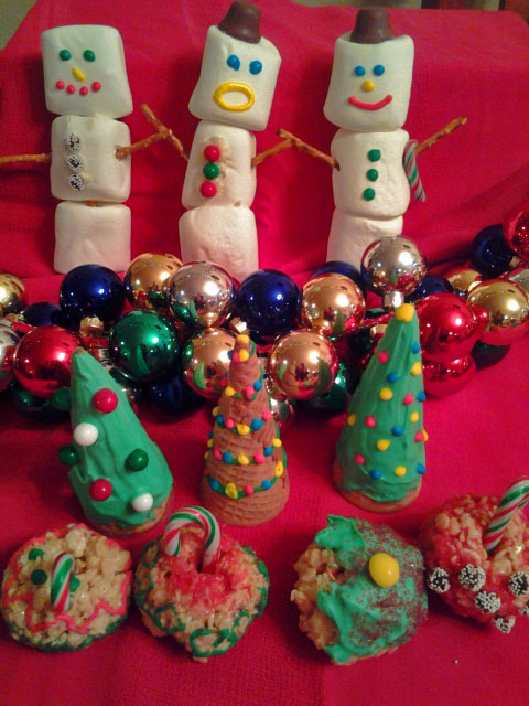 Marshmallow Snowmen, Sugar Cone Trees and Rice Crispy Ornament Balls