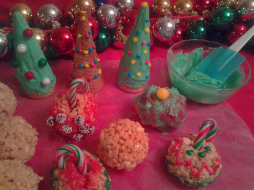 Sugar Cone Christmas Trees and Rice Crispy Ornaments