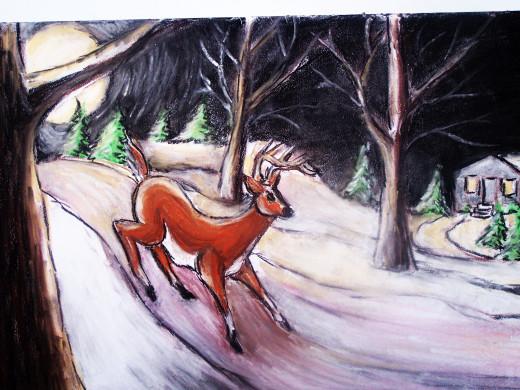 a deer runs across the hill