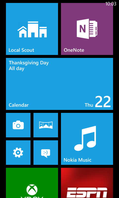 The Start Screen of the latest Windows Phone release, Windows Phone 8 : Used with permission from Microsoft.