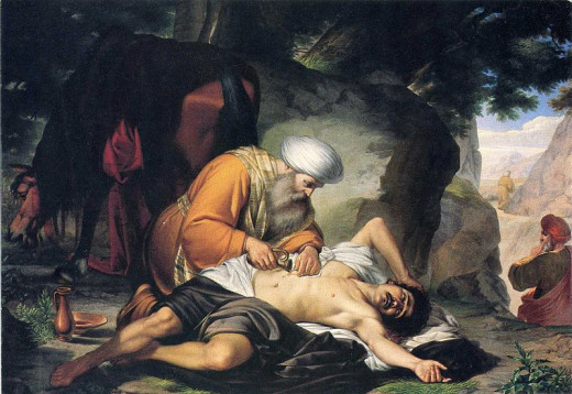 An 18th-century Italian painting depicting the Parable of the Good Samaritan