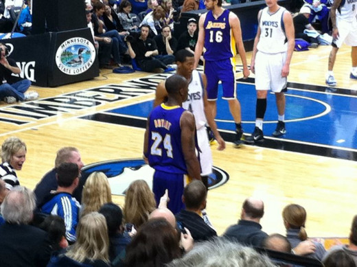 Bryant at a game in the Target Center that I managed to catch!