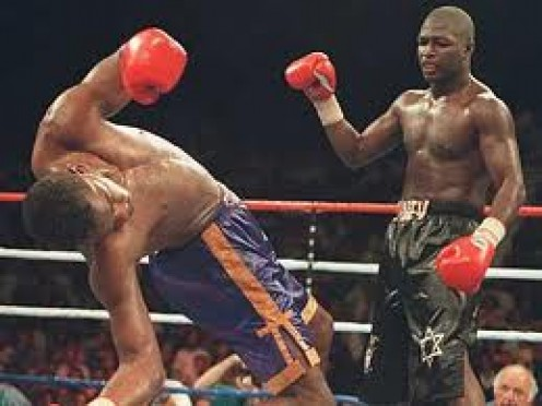 James Toney knocking out Prince Charles Williams in defense of his super middleweight crown in 1993.