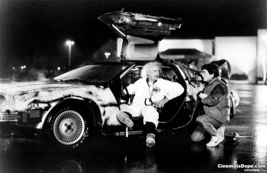 car-park scene from Back to the Future of Marty and Doc with their time machine