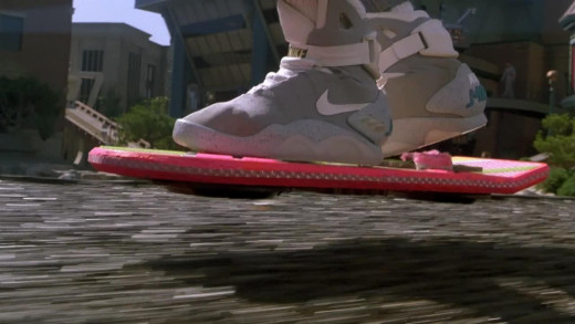 Hover board ridden by Marty in Back to the Future while wearing futuristic Nike power lace up shoes