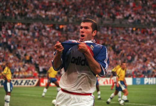 Zinedine Zidane celebrating goal against Brazil in the final of 1998 World Cup.