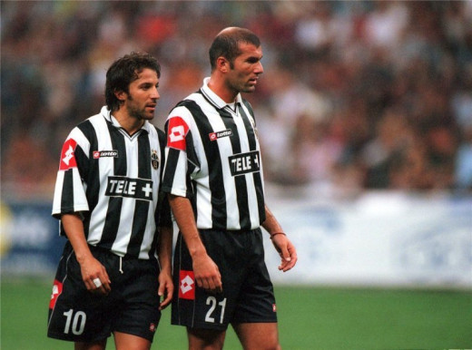 Italian period... Zidane together with Alessandro del Piero.