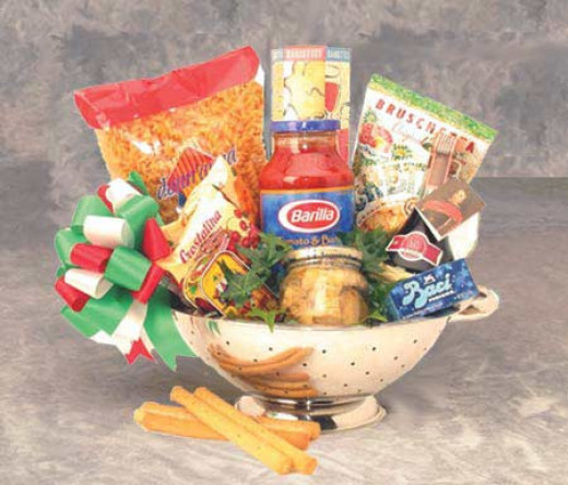 Italian food themed basket in a colander