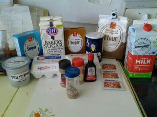 Needed ingredients for cinnamon rolls