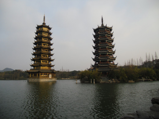 A side view of the Sun and Moon Pagodas.