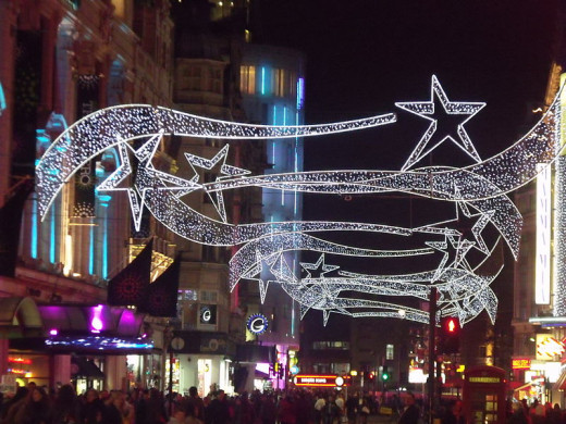 Christmas lights on Coventry Street, Soho, London