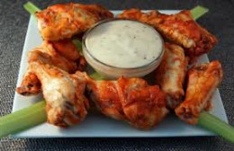 Original Buffalo wings with celery and blue cheese dip