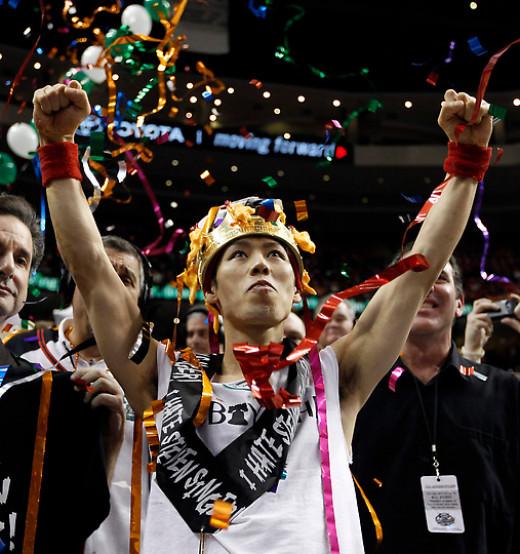 Kobayashi celebrating