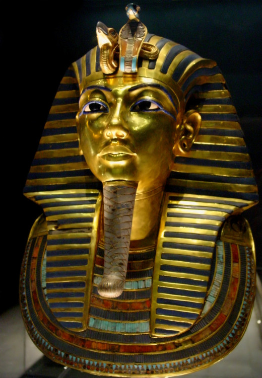 Mask of Tutankhamun's mummy, the popular icon for ancient Egypt at The Egyptian Museum.