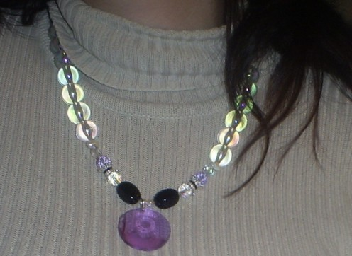 Here is the pretty necklace I made with a few odds and ends.  I love the way these crystal acrylic beads catch the light.