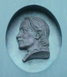 Medallion head of Robert Louis Stevenson outside the Writers' Museum, Edinburgh