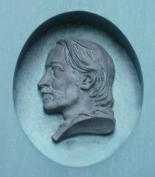 Medallion head of Robert Louis Stevenson outside the Writers' Museum, Edinburgh