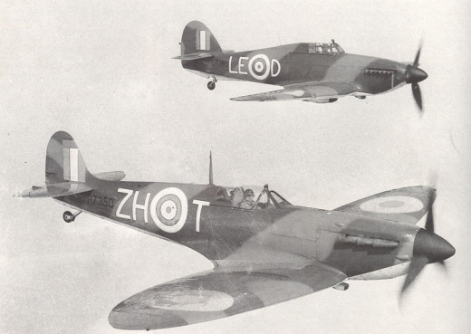 Spitfire to the front, hurricane to the rear