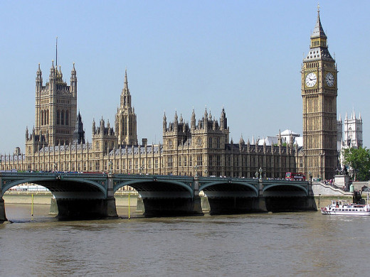 The Houses of Parliament, Big Ben and a view of the cruise ship featured in this story, seen across Westminster Bridge.